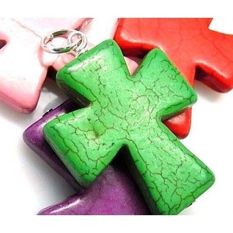 Colgante cruz piedra color
