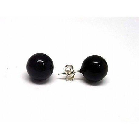 3024663abb01 Pendiente bola negra de plata