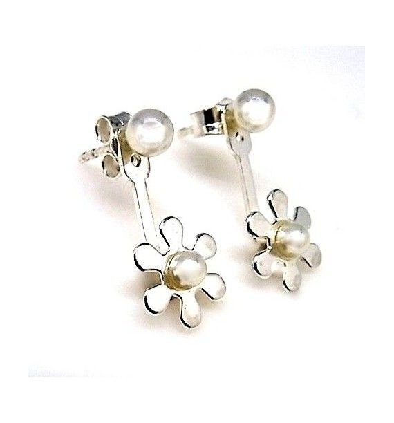 Pendiente flor perla