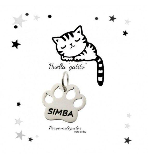 Colgante huella gato personalizado