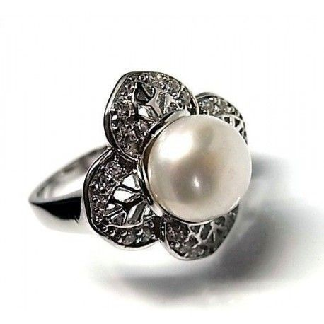 Sortija perla rodiada