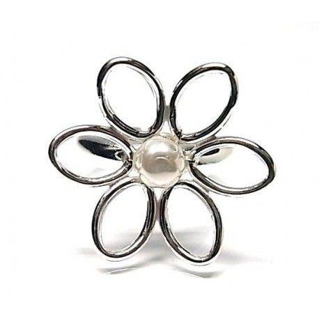 Sortija flor perla