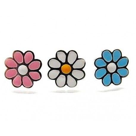 Pendiente esmalte flor