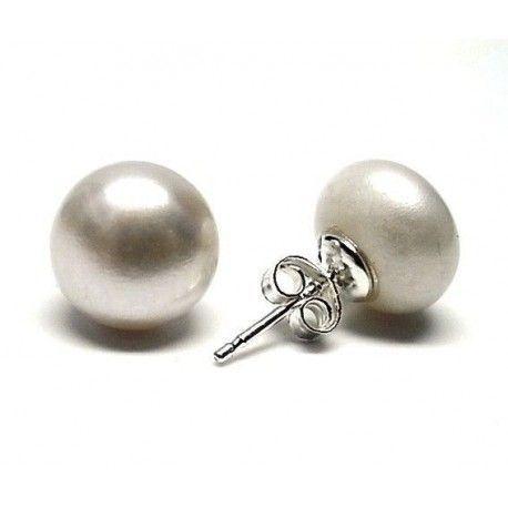 Pendiente perla botón