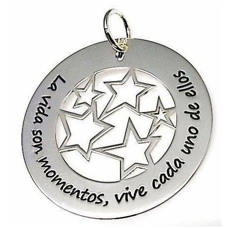 """Colgante estrellas """"La vida son momentos , vive cada uno de ellos"""""""